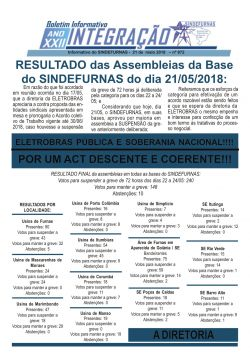 RESULTADO das Assembleias da Base do SINDEFURNAS
