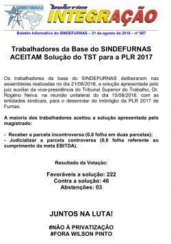 SINDEFURNAS ACEITAM Solução do TST para a PLR 2017